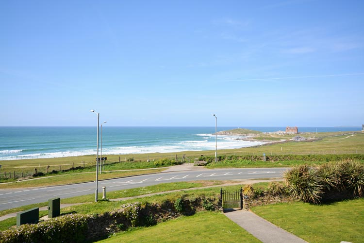 The beach view from Headland House dog friendly cottage in Newquay, Cornwall