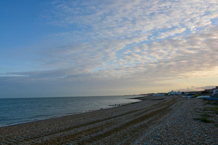 Pevensey Bay pebble beach, next to Seagulls dog-friendly cottage in East Sussex