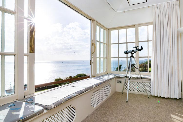 Looking out of Coastguard Cottage (dog friendly) in Plymouth, South Devon