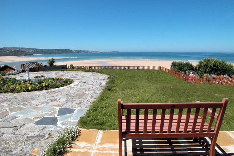 The view from Villa Surfside dog-friendly cottage at Hayle in West Cornwall