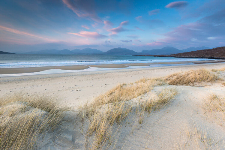 Luskentyre dog friendly beach on the Isle of Harris in Scotland