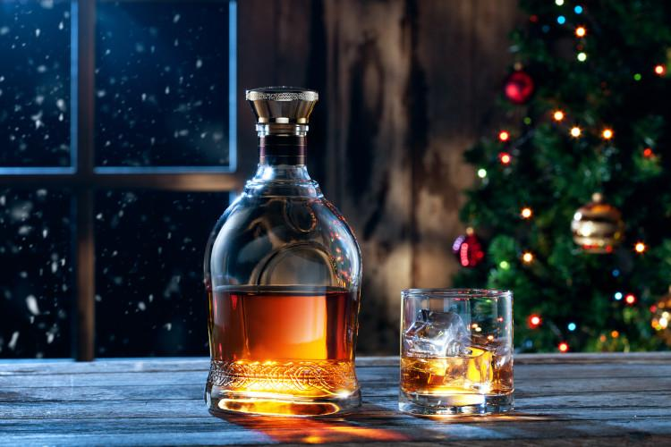 bottle and glass of whisky at Christmas