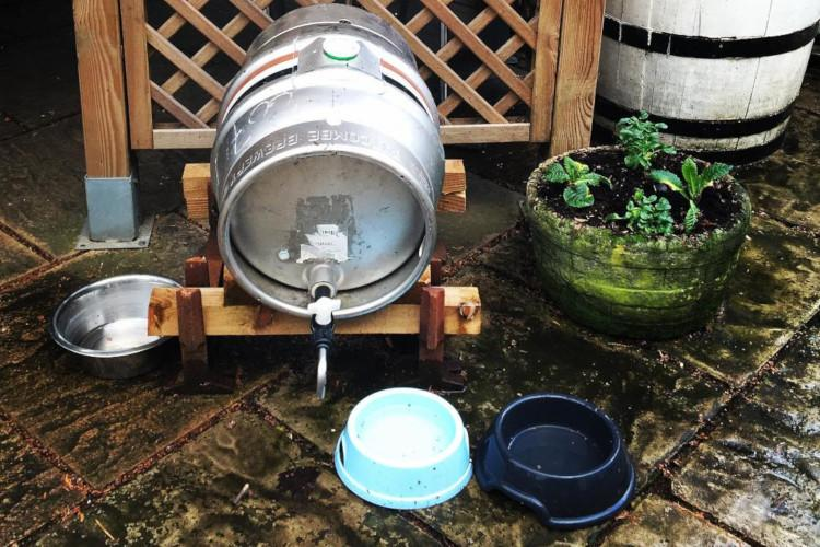 Cask of water with dog bowls Willow House Watton