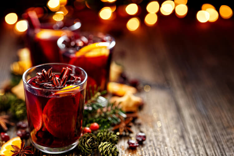 Enjoy a warm glass of mulled wine