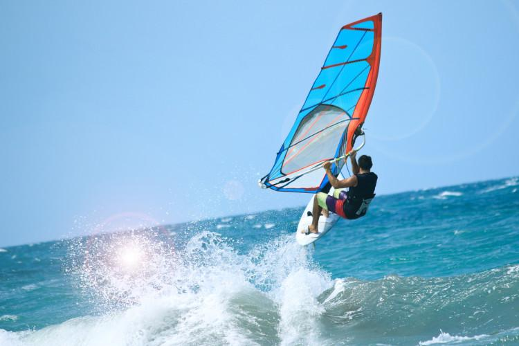 Windsurfer at sea
