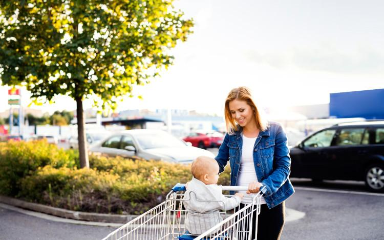 shopping with baby in trolley