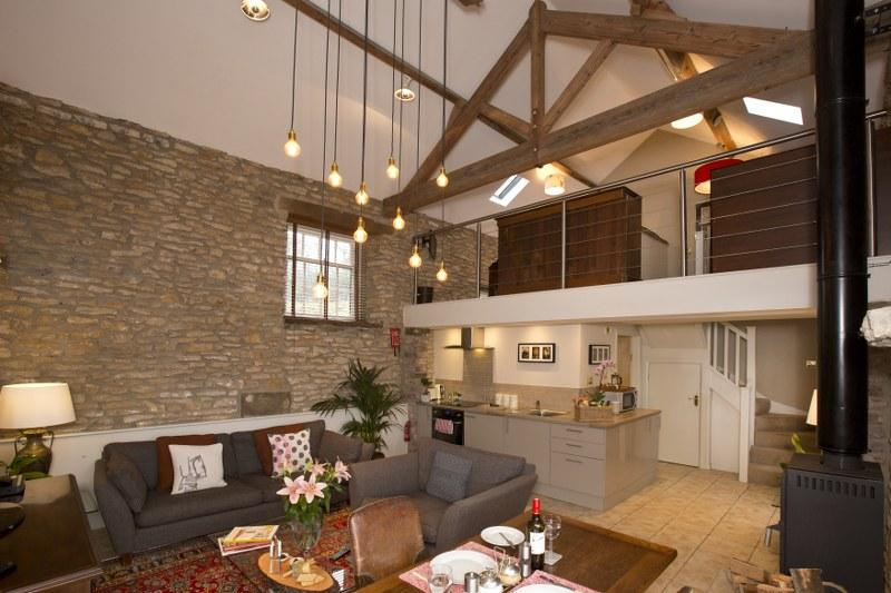 Double height living space in a barn conversion