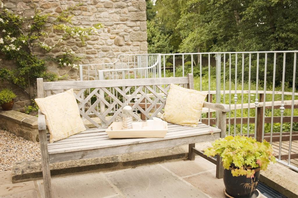 The Terrace by the river at Miller's Retreat in the Yorkshire Dales