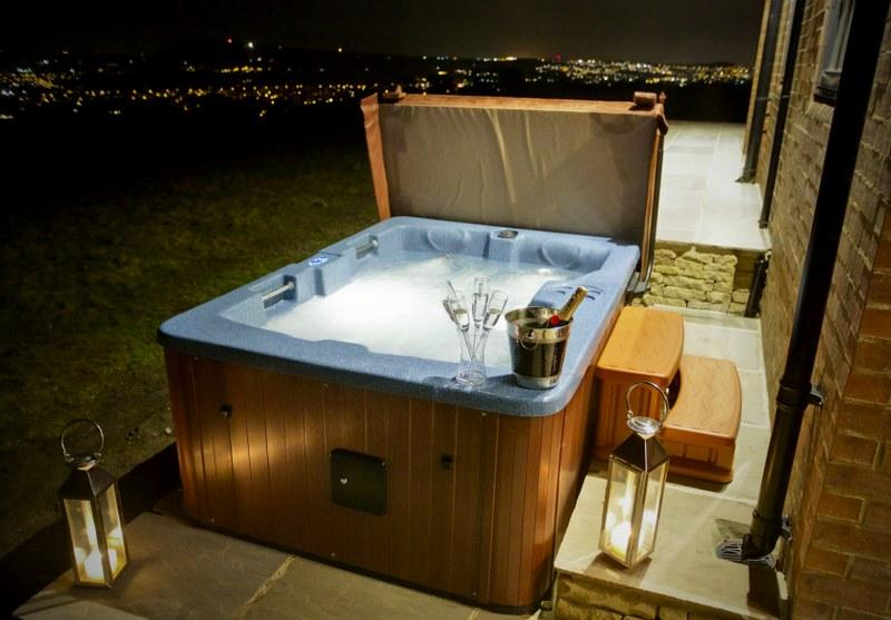 Enjoy the view from the hot tub The Pump House in Ilkley.