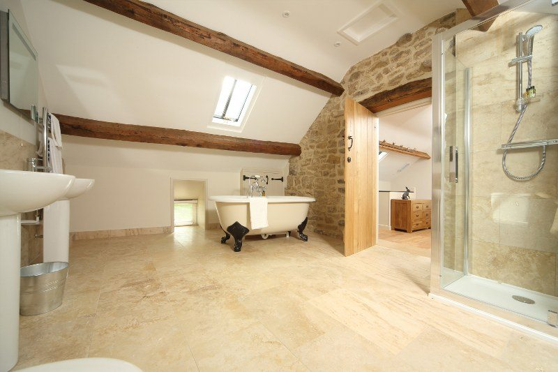 There's a spacious bathroom at this romantic retreat