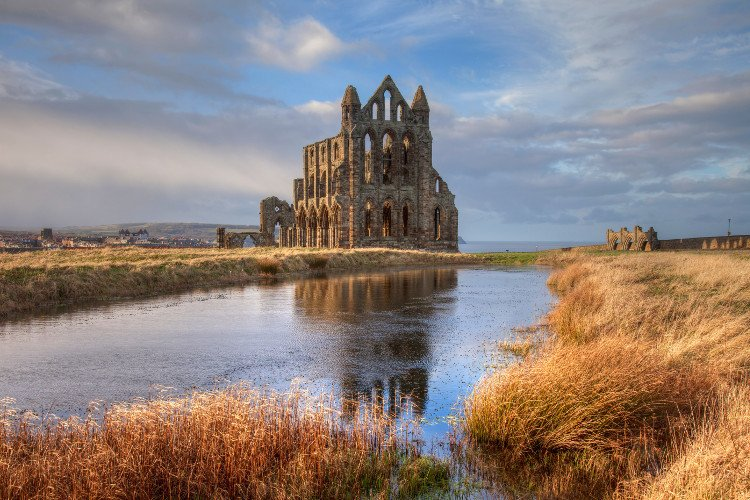 Walk up to Whitby Abbey in the autumn
