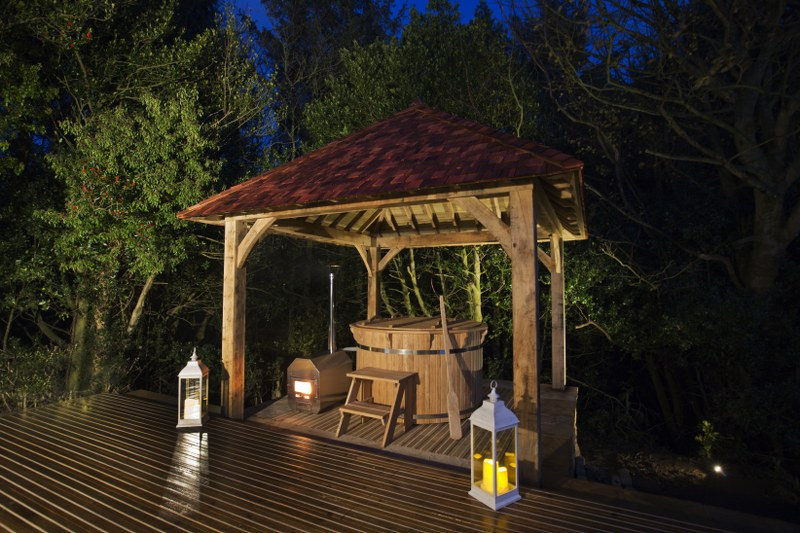 The hot tub at Wykewood is housed in a Balinese-style Pergoda