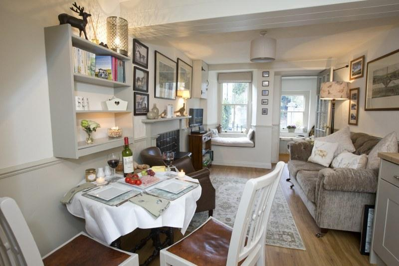 The elegant and sophisticated open plan interior of the cottage. Makes you feel instantly at home!