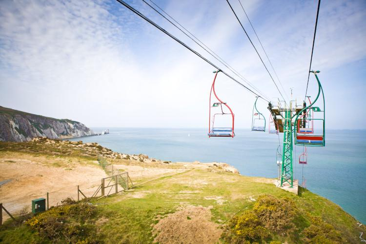 Chairlifts over The Needles Isle of Wight