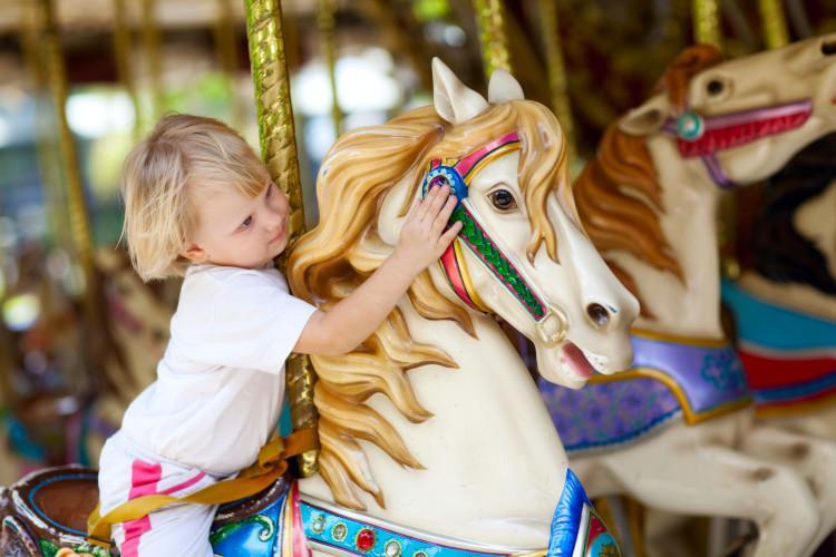 Children on carousel