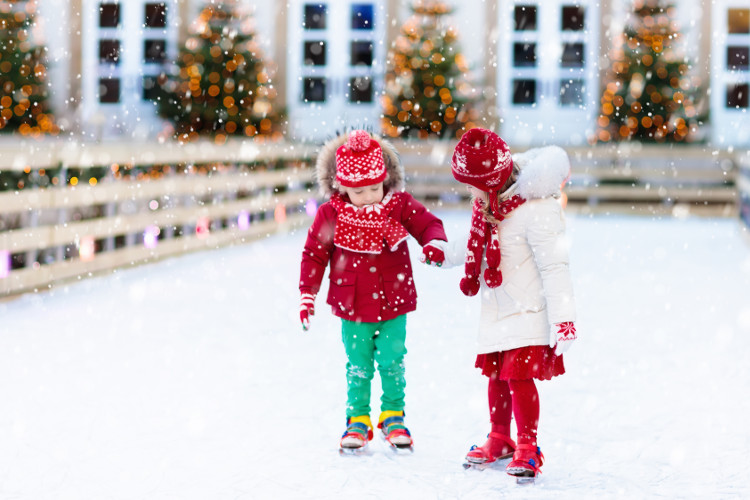 Children ice skating at Ventnorville, The Isle of Wight