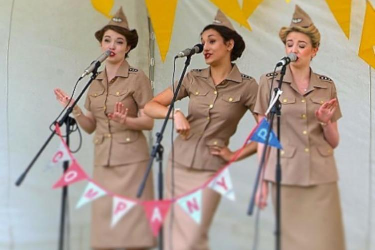 Vintage event singers performing on stage