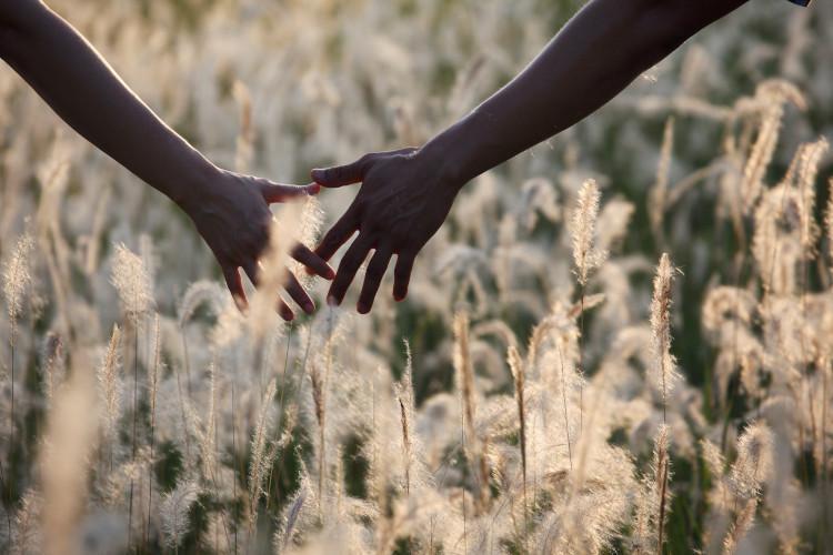 Couple walking hand in hand in field
