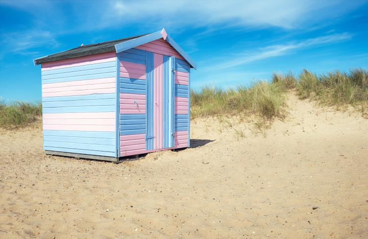 Great Yarmouth colourful hut on beach