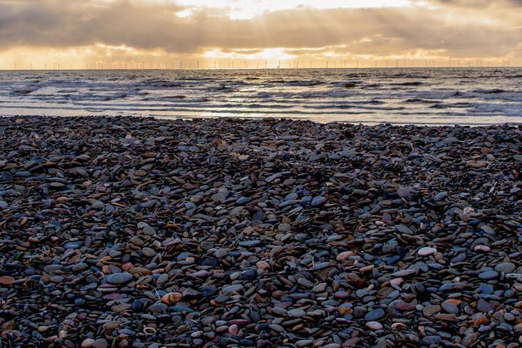 The Irish Sea and the majestic Walney Wind Farm from Walney Island, Cumbria