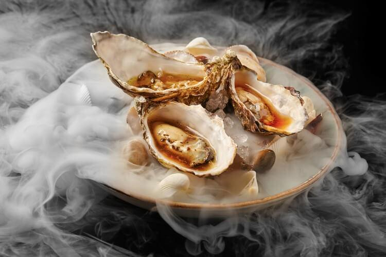 Michelin food - oysters in a modern style.