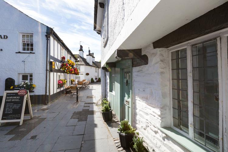 Streets of Hawkshead village in the Lake District, Cumbria