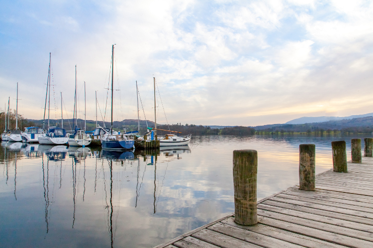 Boats on Lake Windermere in the Lake District, Cumbria