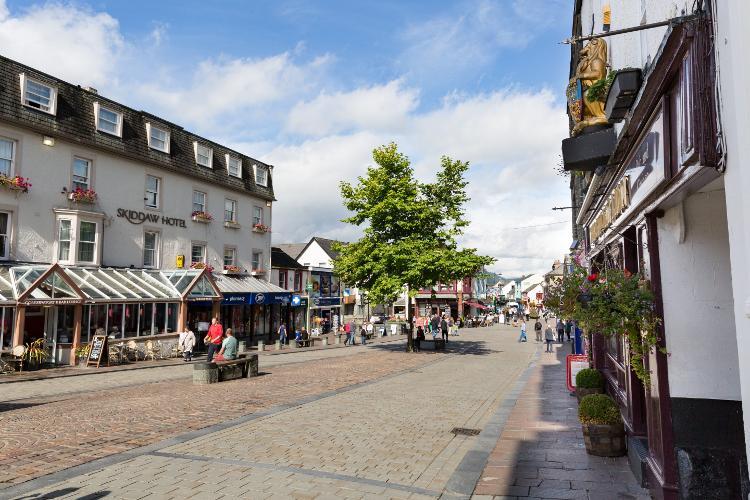 Keswick town centre in the Lake District, Cumbria