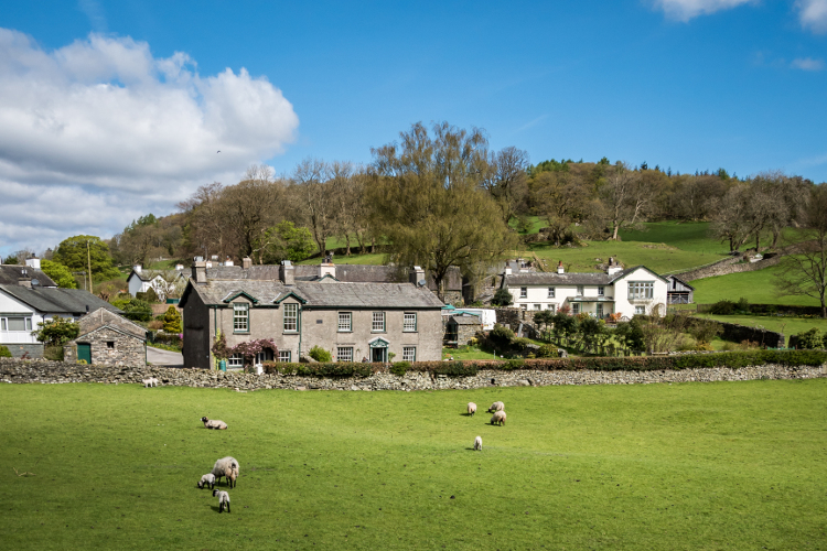 The village of Near Sawrey in the Lake District, Cumbria