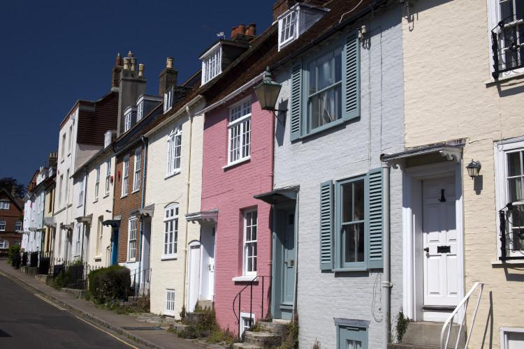 Row of colourful houses in Lymington