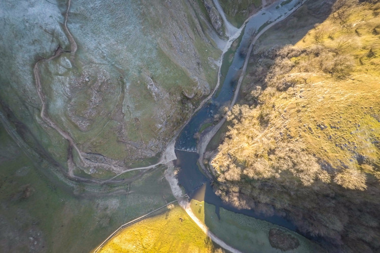 aerial view of Dovedale