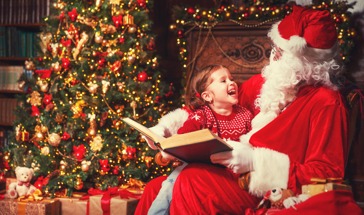santa stories with child at Christmas