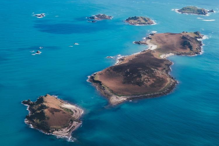 Aerial view of the Scilly Isles