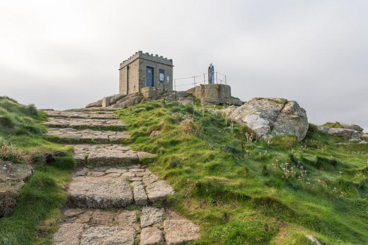 Mayon Cliff lookout tower Sennen Cornwall