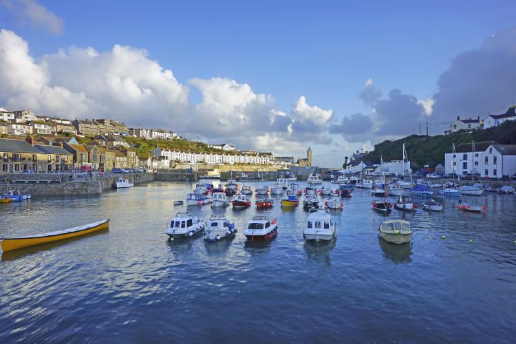 Porthleven harbour and boats Cornwall