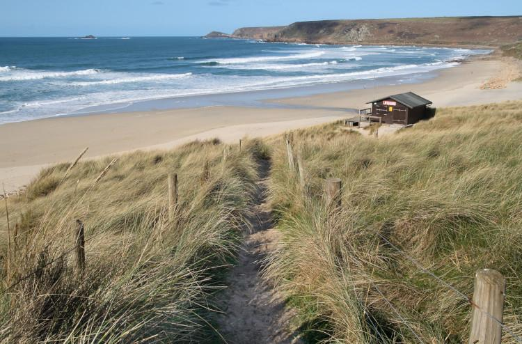 Sennen Cove Beach and path down to it