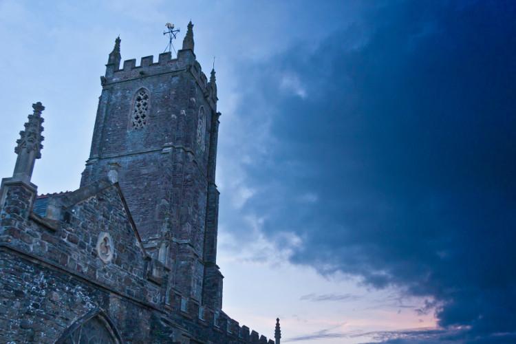 south molton church at dusk
