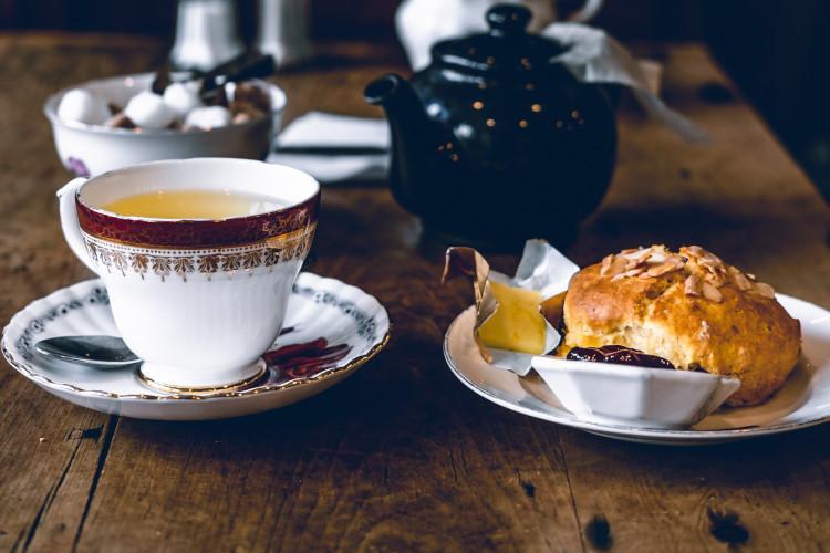 Cream tea on table