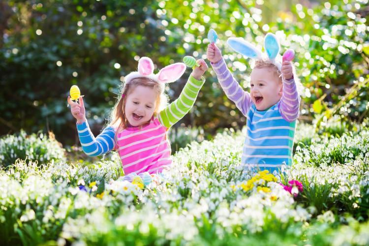girls doing easter egg hunt