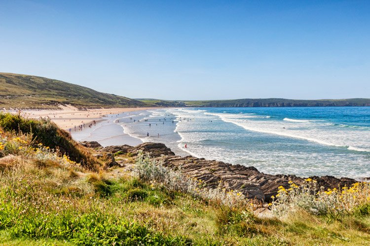Woolacombe beach in the summer
