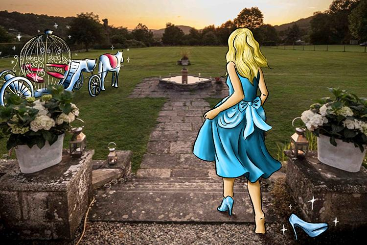 Cinderella running away from The Mansion in Crickhowell, leaving a glass slipper
