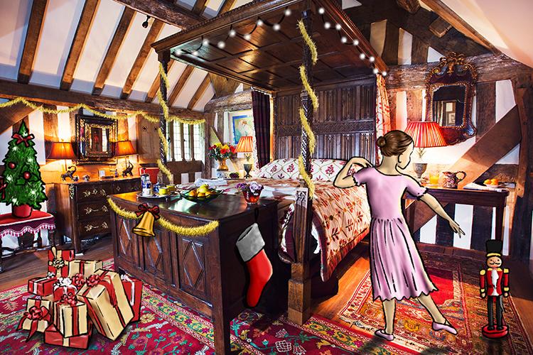 Clara dancing in her room at Beautiful Old Burfa, Hay-on-Wye