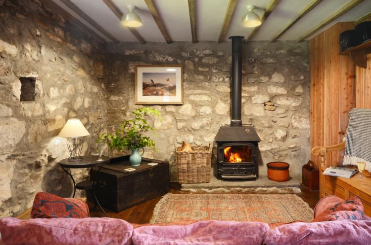 Ty Granary sitting room and fire Wales