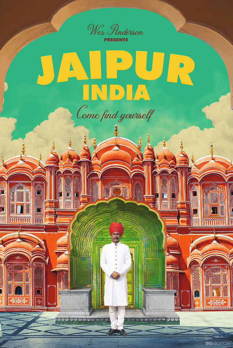 Travel poster of Jaipur, India, in the style of film director Wes Anderson