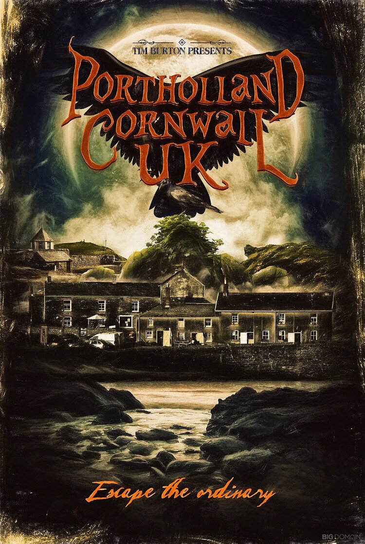 Travel poster of Portholland, Cornwall, UK, in the style of film director Tim Burton
