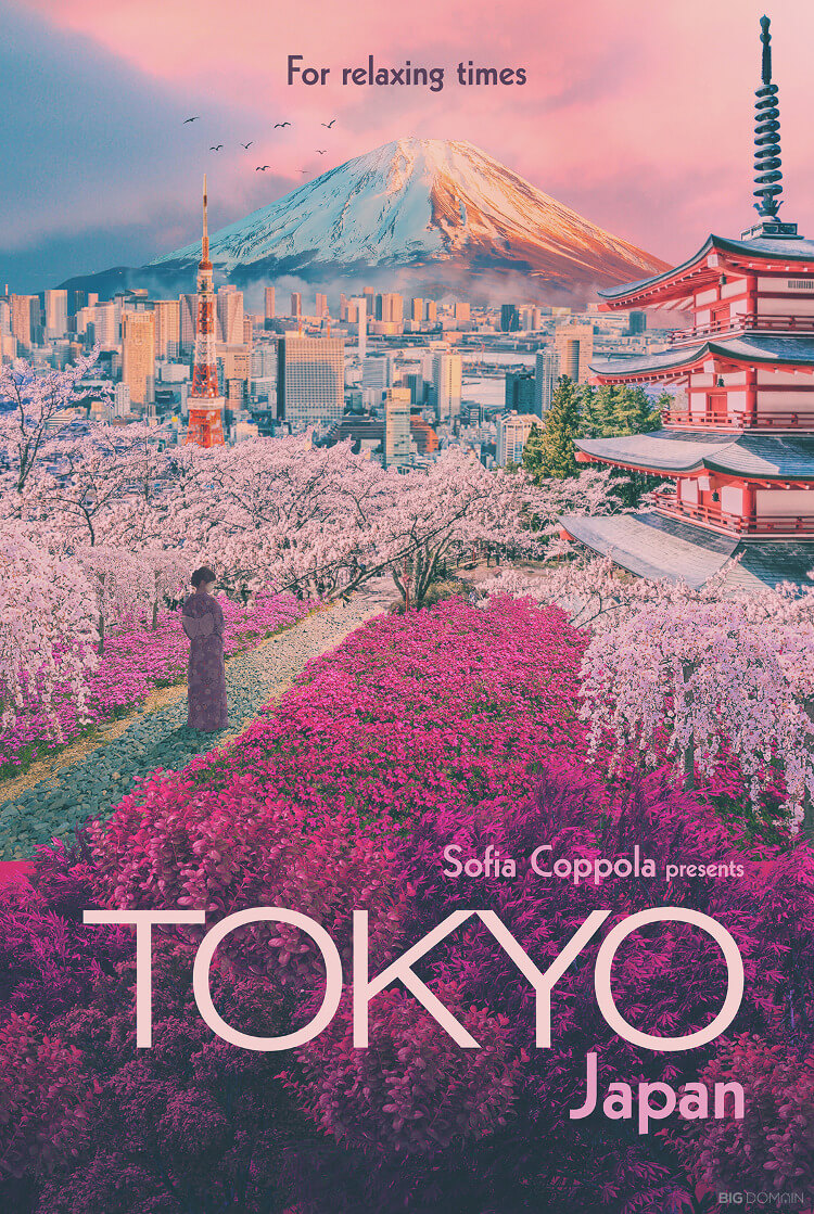 Travel poster of Tokyo, Japan, in the style of film director Sofia Coppola
