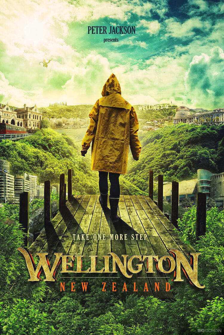 Travel poster of Wellington, New Zealand, in the style of film director Peter Jackson