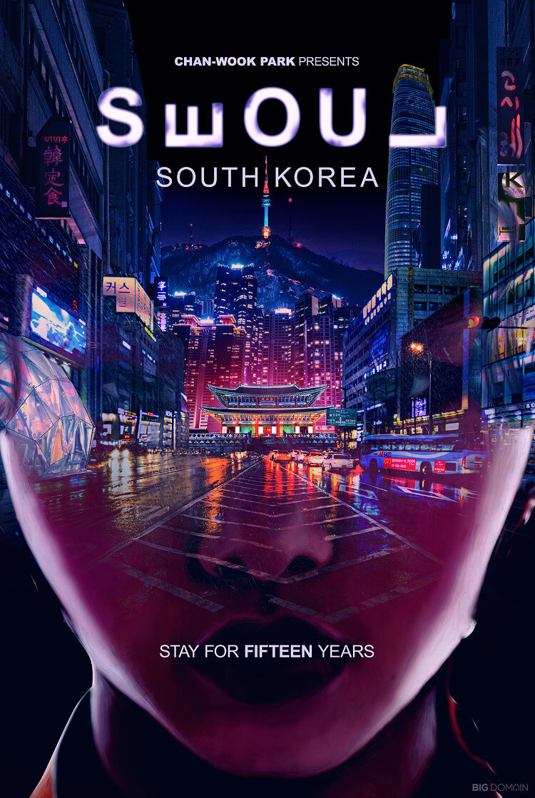 Travel poster of Seoul, South Korea, in the style of film director Chan-wook Park