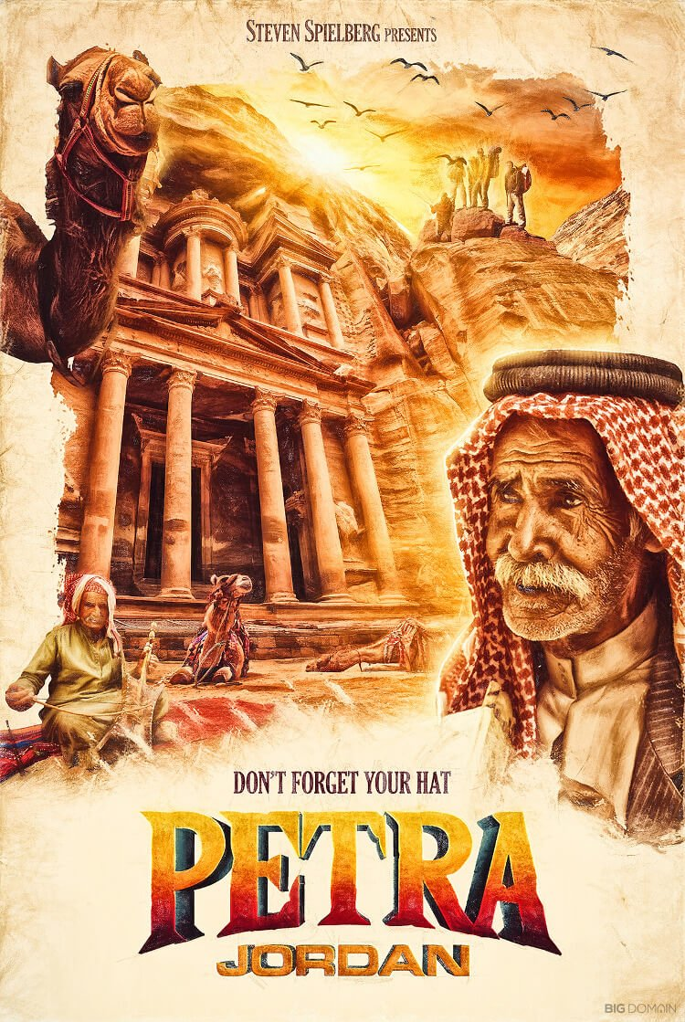 Travel poster of Petra, Jordan, in the style of film director Stephen Spielberg
