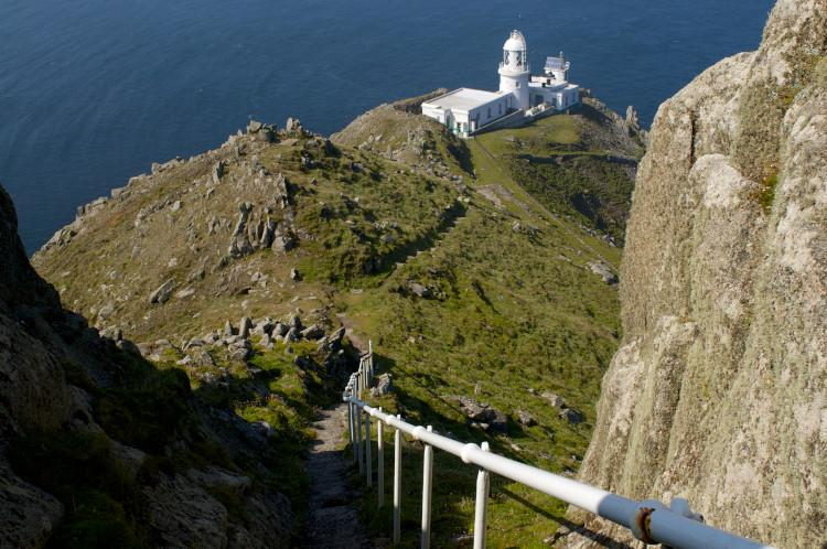 steps down to lighthouse on lundy island